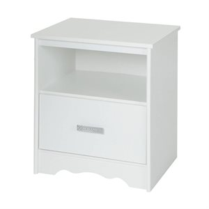 Table de chevet 1 tiroir Tiara Blanc Solide - South Shore